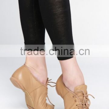 Dttrol wholesale white tan black lace up cow leather dance shoes latin women salsa D004718