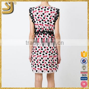 Fancy custom design cap sleeve black white red blend polka dots embroidery women dress                                                                         Quality Choice