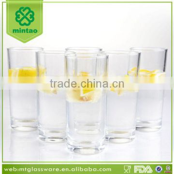 Clear machine made water and beverage high ball and drinking glass
