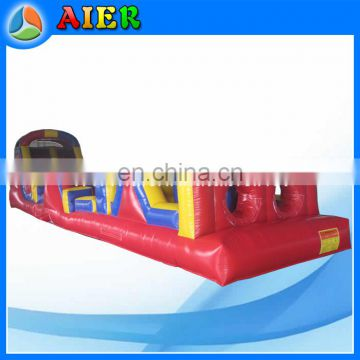 red color inflatable obstacle course, 2 sections inflatable obstacle, combination obstacle course