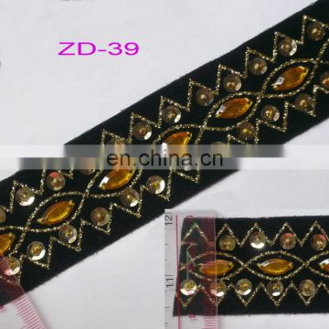 nice quality embroidered decorative sequin trimming