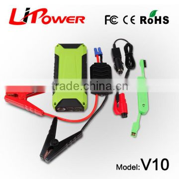 New Style Certificated 12000mAh Jump Starter with safety hammer multifunction automobile stating power with intelligent clamps