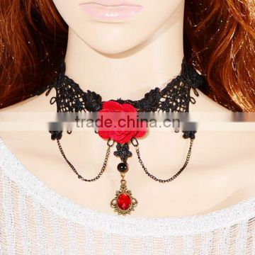 Hot fashion jewelry red flower necklace for women