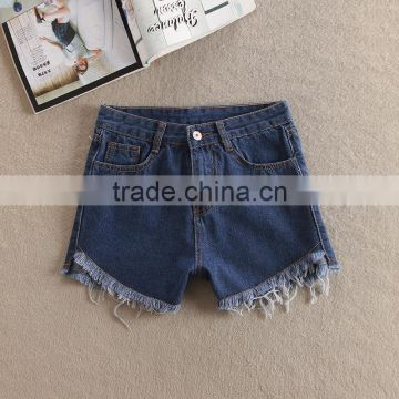Summer Fashion Irregular Females washable and loose cowboy shorts hot shorts with macrame
