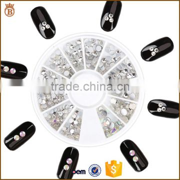 Factory Supply Mixed Shape Crystal AB Rhinestone 3D Nail Art Resin Decoration Round Wheel