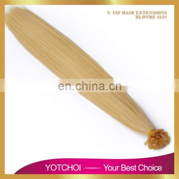 Factory Price Double Drawn Blonde Remy Keratin U/I/V/FLAT Tip Hair Extension