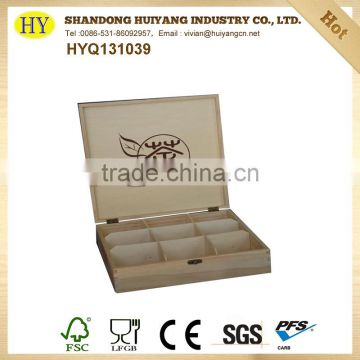 unfinished 9 compartment wooden tea box for wholesale
