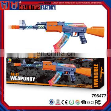 Most Popular Plastic B/O Gun flashing light gun toy with music ak47 toy gun