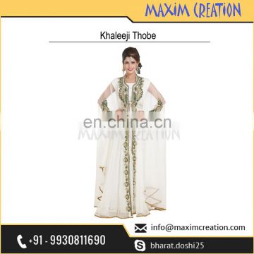 Top Rated Khaleeji Thobe With Simple Hand Made Embroidery Design By Maxim Creation 6586