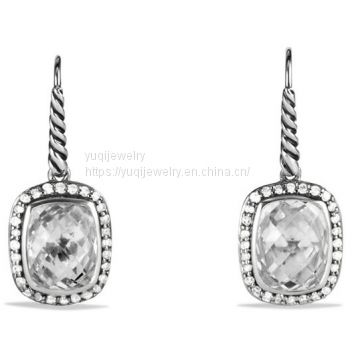 Sterling Silver Jewelry Noblesse Drop Earrings with White Topaz(E-052)