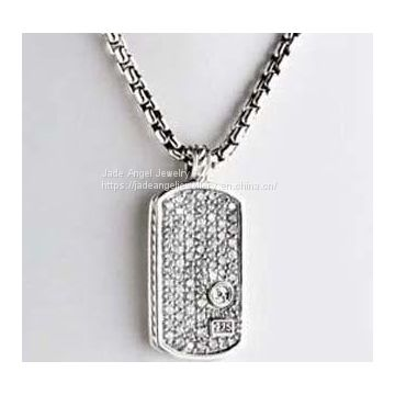925 Silver Designs Inspired DY Pave Diamond Dog Tag Men Necklace