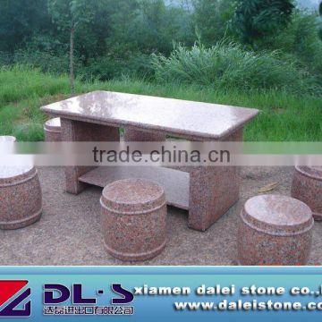 maple red granite table and chair