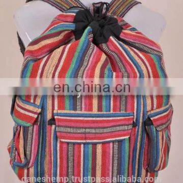 Multi Colored Hemp Backpack BPK 0011