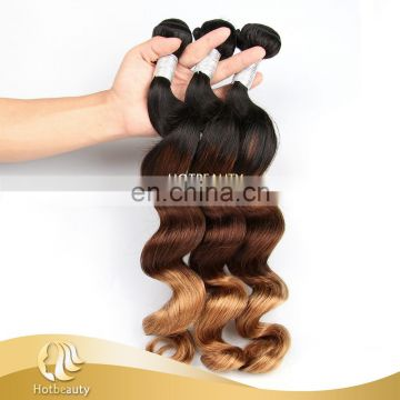 Hight Quality Wholesale unprocessed virgin brazilian hair three tone colors ombre loose wave