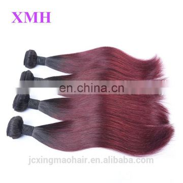 Two Tone Color 1B/Burgundy Brazilian Human Hair Extensions Ombre Brazilian Human Hair