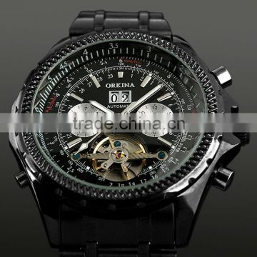 Fashion Black Tourbillon Mechanical Watch WM305