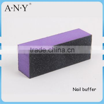 Nail Art Manicure Polishing Cheap Purple Sponge 3 Way Nail Buffer