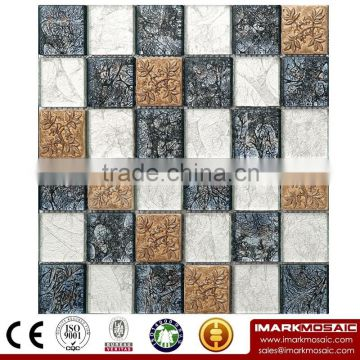 IMARK crystal glass mosaic mix resin mosaic and gold foil mosaic tiles foshan tile, swimming pool tile, IXGR8-006 for homedepot