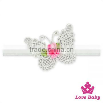 Charming Kids White Lace Heart Flower Newborn Baby Girl Wedding Elastic Headband Toddler Hair Gift Sets
