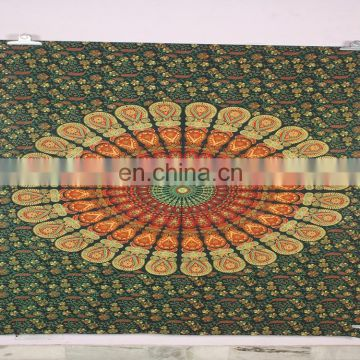 custom printing cotton tapestry bedspread picnic blanket wall hanging rectangle mandala indian tapestry