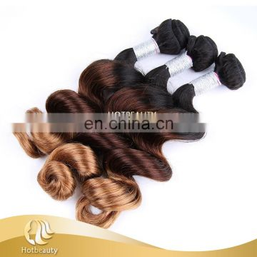 Wholesale raw brazilian thick three tone colors virgin hair