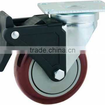 22 Series Double Ball Raceway Structure Top Plate Swivel PU on PP Industrial Caster with Nylon Top Lock Brake