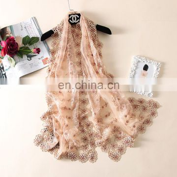 100% polyester wholesale exquisite embroidery plain solid colour long pashmina shawl scarf