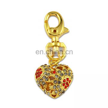 Wholesale Promotion Custom Metal Pendant 3D Gold Heart Keyring With Rhinestone