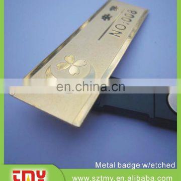 Gold metal elegant blank magnetic name badge of Metal