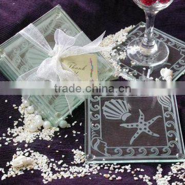 Wholesale Ocean Beach Temed Glass Coaster Wedding Favors Blank