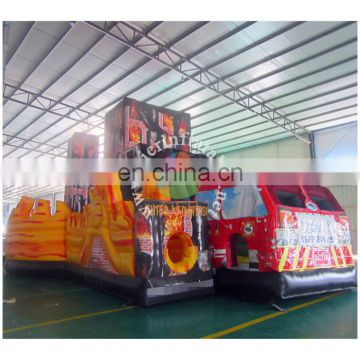 2016 new design PVC Tarpaulin fire truck inflatable obstacle bouncer with slide