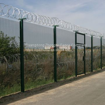Black vinyl coated high security fence 358 anti-climb fencing with barbed wire