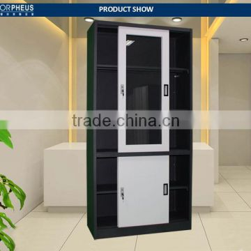 China Classic File Cabinet Black Body And White Door Filing Cupboard/sliding Door steel Cabinet WIith Key Lock