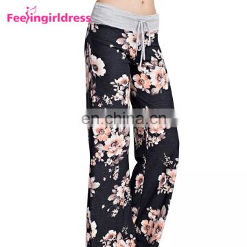 New Style Wide Leg Beach Wear Pants Women Print Flower Palazzo Sweat Pants