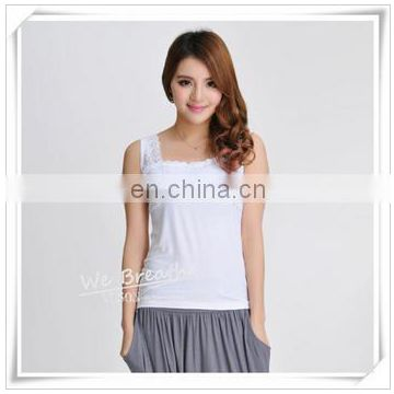Lace Trim Square Neck Tank Top Bamboo Fiber Ladies Sleeveless Vest
