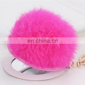 Fashion rabbit fur pom pom accessory cute pom pom mirror for girl lady