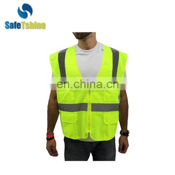 Newest high performance reflective safety vest with pocket