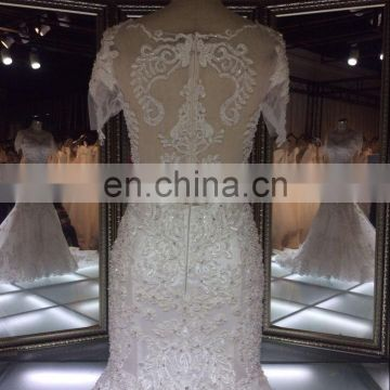 TH-7801JL 2016 new designed appliqued lace and beads beaded wedding dress see back mermaid wedding dress with short sleeve dress