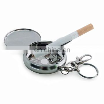 2017 custom Portable keychain metal pocket antique stainless steel ashtray