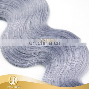 Virgin unprocessed human hair weave grey purple bodywave remy Brazilian human hair