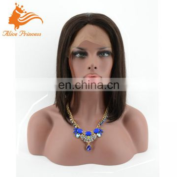 Premium Quality Hot Item Natural Color Human Peruvian Hair Half Wig Virgin Hair Front Lace Bob Wig