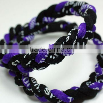 Tri braid customized baseball titanium germanium necklaces