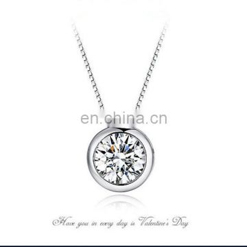 Ladies Round Diamond 925 Mexican Silver Necklace