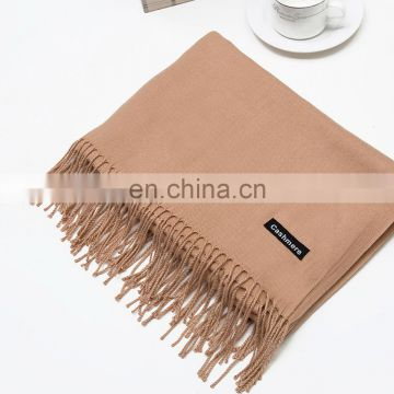 Wholesale plain tassels cashmere pashmina shawl scarf stock 20 colors