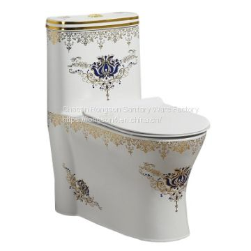 Bathroom cheap golden ceramic bowl hot selling one piece toilet