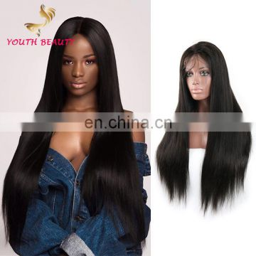 100% real brazilian human hair lace front wig in silky straight style FULL CUTICLE wholesale price