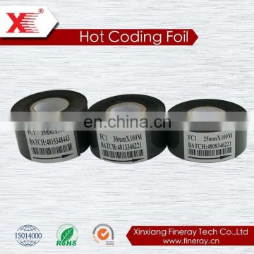 Black 25mm*150m hot coding foil/hot hot stamping foil ribbon for expiry date printing used on labeller/coding machine