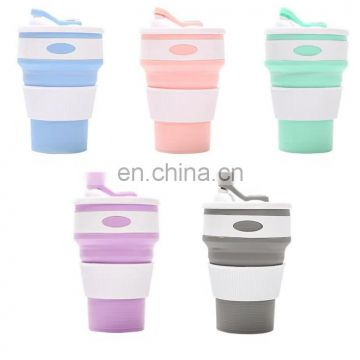 Hot sale customizable folding silicone coffee cup with multifunction