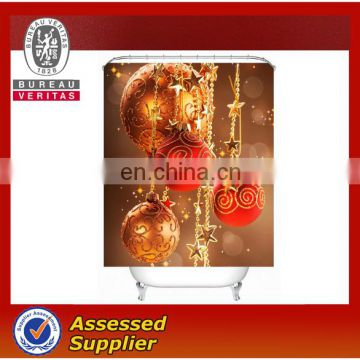 New design beautiful digital printed Christmas shower curtain