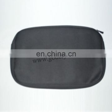 Black Round quilted satin cosmetic bag